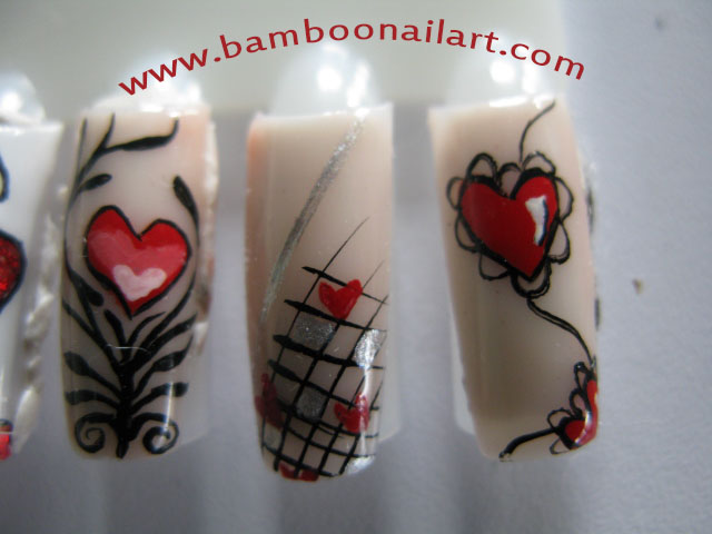 heart bamboo nail art. Black Bedroom Furniture Sets. Home Design Ideas