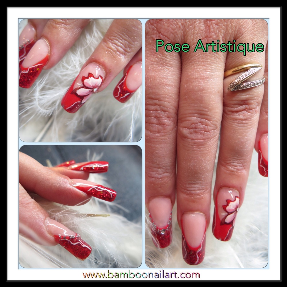 MODELAGE D ONGLES version Pose Artistique : French rouge, Nail Art abstrait et one stroke (6/6)